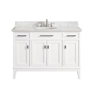 Brooks White 42 Inch Vanity Combo With Carrera White Marble Top Avanity Vanities Bathroom
