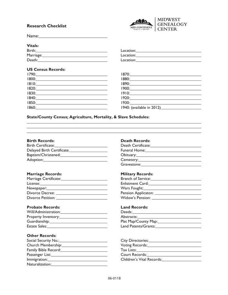74 best Genealogy Printables images on Pinterest Genealogy forms - blank birth certificate form