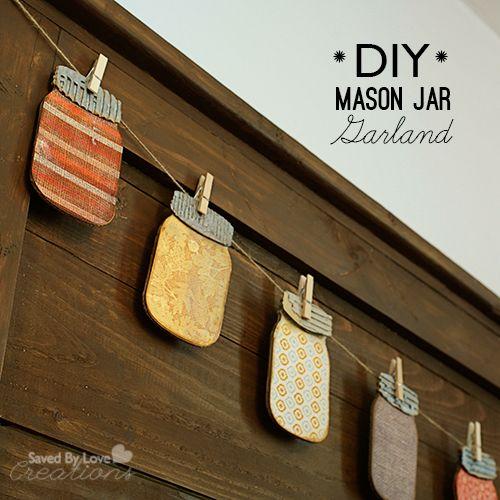 Make fun fall Mason Jar Garland with @EileenHull Canning jars Die @savedbyloves @Sizzix_US #papercraft