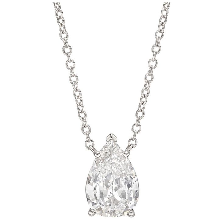 diamond en white golden solitaire carat with shaped pear pendant
