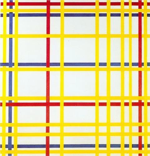 Piet Mondrian : New York City I, 1942. Musée National d'Art Moderne, Center Georges Pompidou, Paris.©