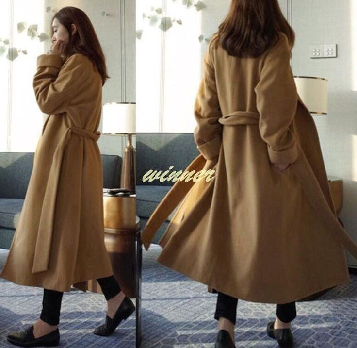 Womens Super Long Coats Woolen Blend Slim Fit Korea Style Winter Outwear Jackets