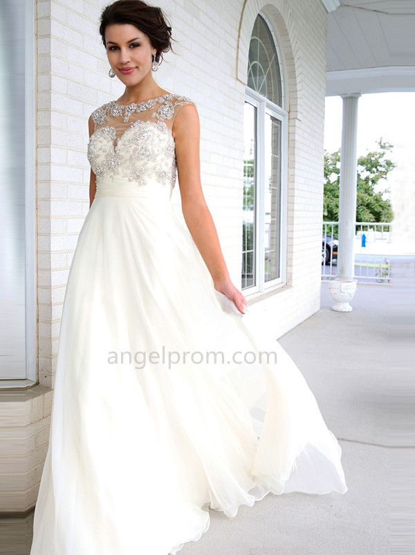 A-line Scoop Sleeveless Chiffon Prom Dresses/Evening Dresses With Beaded