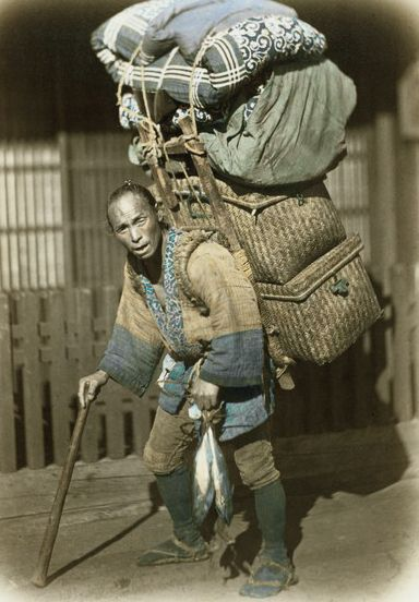 Cargo Carrier.  Hand-colored photo, 1870's, Japan, by photographer Felice Beato