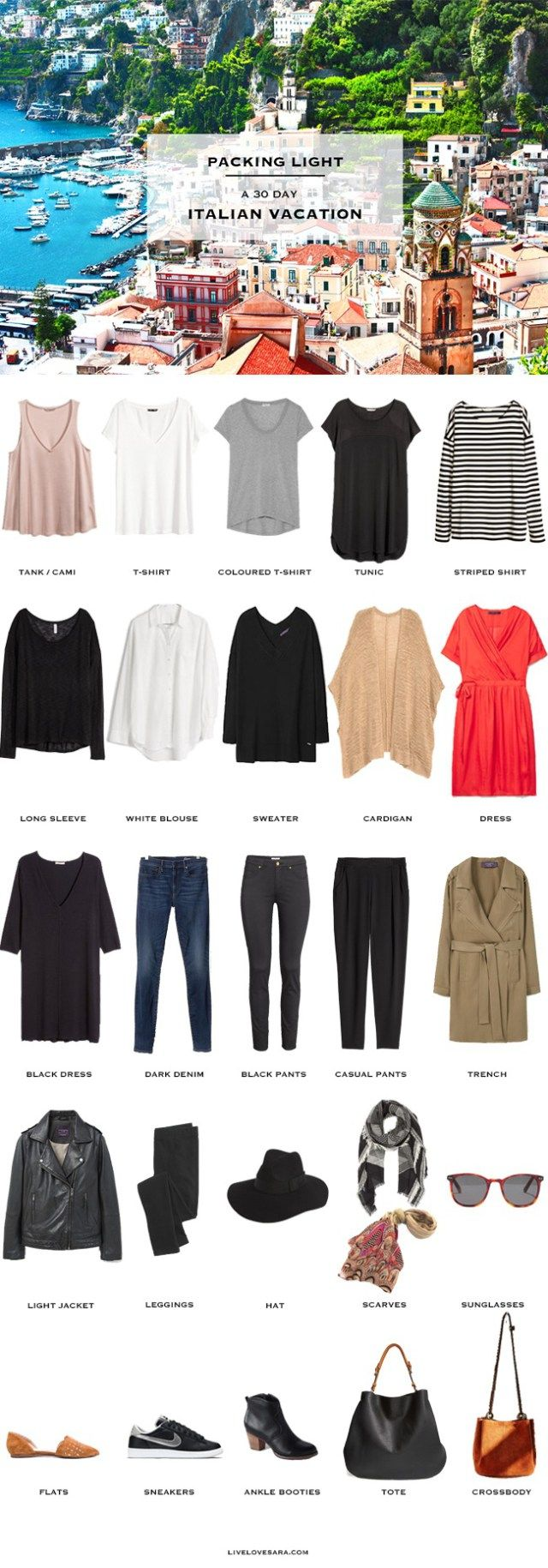 What to Pack for Italy Packing Light List 30 Days in October #travellight…