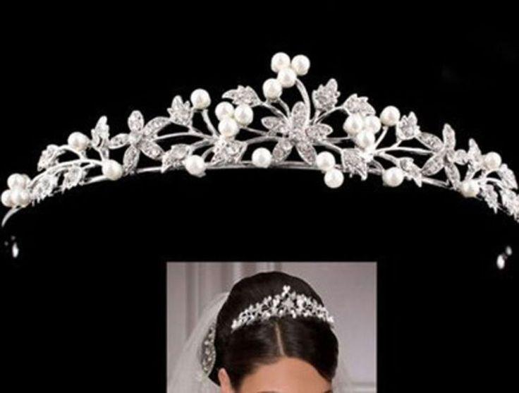 Wedding Bridal Tiara Rhinestone Pearl Crystal Crown Pageant Hair Comb Headband