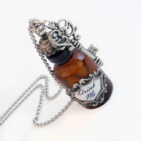 Alice Drink Me Bottle Pendant with Key by TrashAndTrinkets on Etsy, $42.00