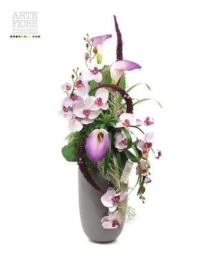 Composizione floreale fiori artificiali in tessuto: Orchidee e Calle viola
