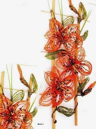 Цветы из бисера «Тигровые лилии» http://rukodelie-dom.ru/tsvety-iz-bisera/tsvety-iz-bisera-tigrovye-lilii.html Выполните три цветка бисером из шести лепестков (схема на рис. 1) в дуговом низании каждый. Лепестки имеют острые верхушки, которые достигаются набором двух рубленых бисерин между дугами на конце и одной в основе.