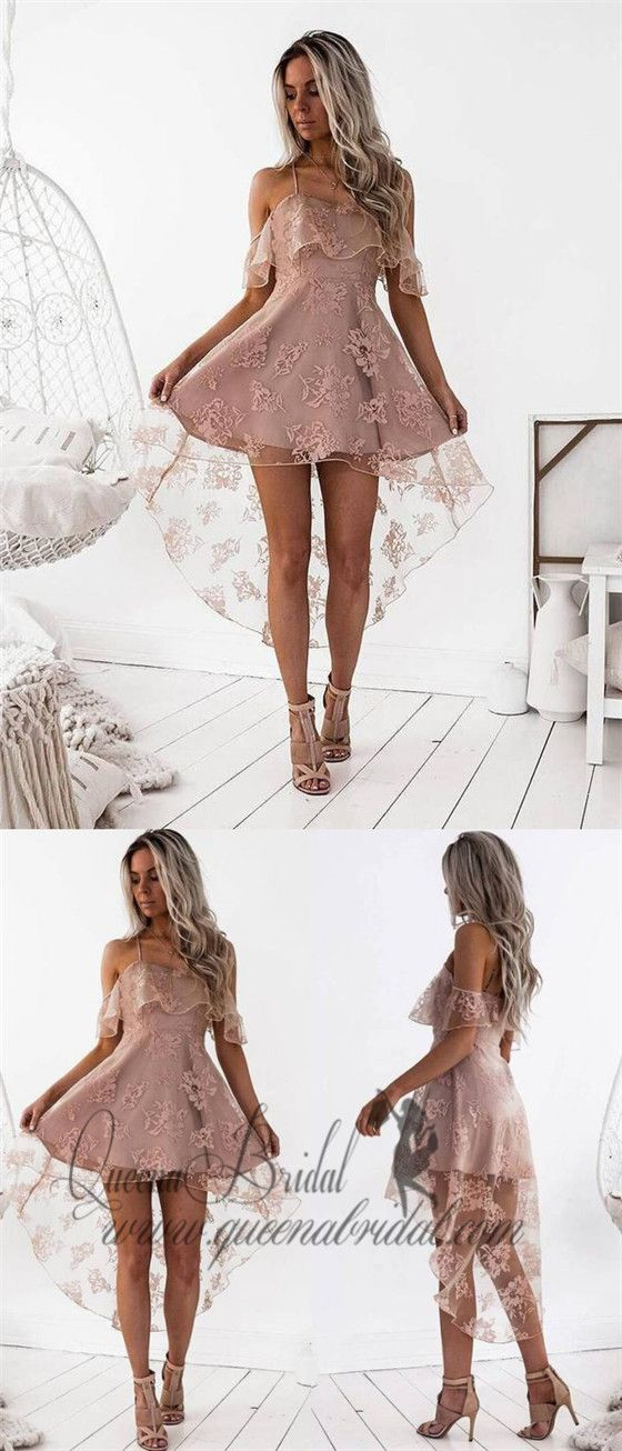 b7bbdf8aed2af Off Shoulder High Low Dusty Pink Lace Homecoming Dresses 2018, CM440 # homecomingdresses #shorthomecomingdresses #highlowhomecomingdresses # ...