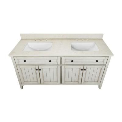 Klein 61 in. Double Vanity in Antique White with Quartz Vanity Top in Beige and Basins-KLWVT6122D - The Home Depot