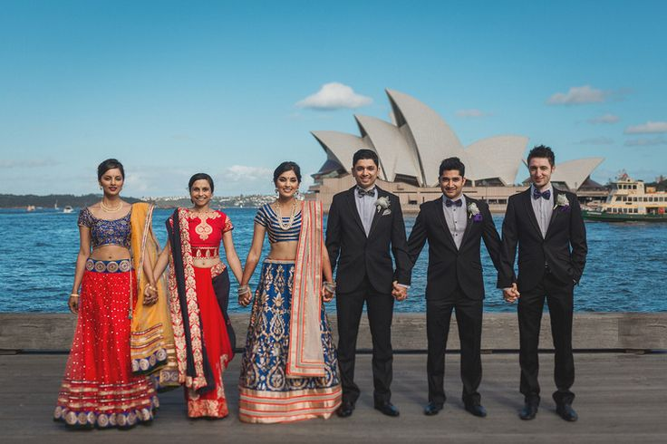 Reshma + Aniket: A Chic Indian Wedding in Sydney and Melbourne - modern Indian wedding reception - chamee and palak lehenga - reception bridal party - Sydney Opera House - Sydney Harbour #thecrimsonbride