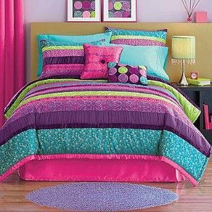 New seventeen venus 2pc twin comforter set 160 pink purple turquoise lime green comforter - Cute teenage girl bedding sets ...