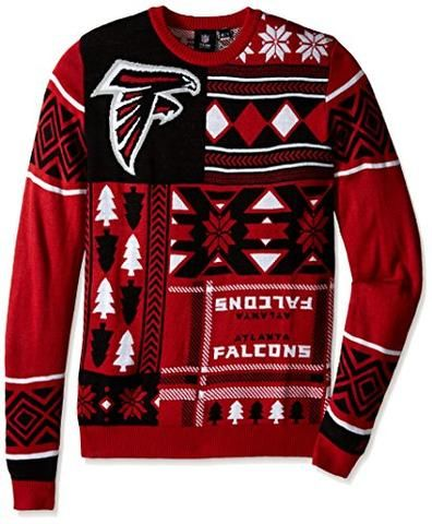 Klew NFL Men s Atlanta Falcons Patches Ugly Sweater 6742bae56