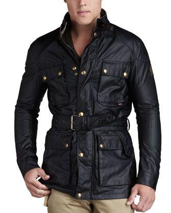 Roadmaster Belted Jacket, Black by Belstaff at Neiman Marcus. Wax JacketsField  JacketsCotton ...