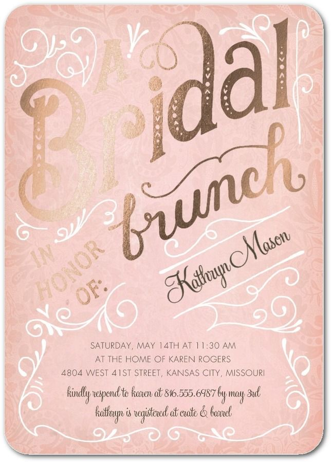 Bridal Brunch - Signature Foil Bridal Shower Invitations in Rose or Peppermint | Petite Alma