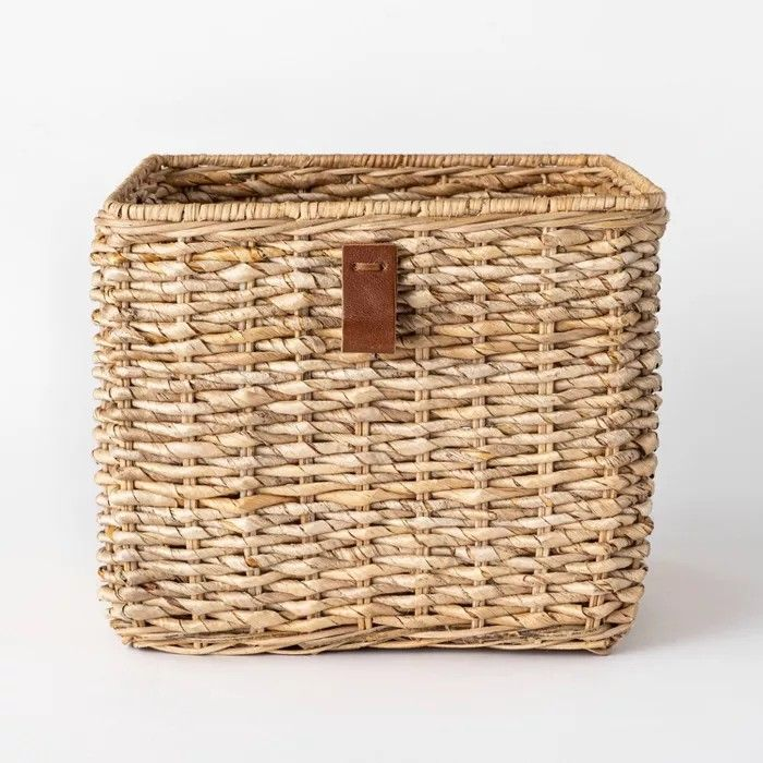 Decorative Cube Basket With Leather Pull 13 X 11 White Threshold Designed With Studio Mcge In 2020 Inexpensive Home Decor Studio Mcgee Decorative Storage