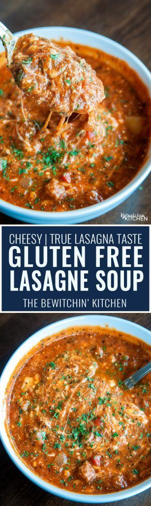 Gluten Free Lasagne Soup is AWESOME and super cheesy. A fall soup favorite that actually tastes like lasagna, and easy enough to toss in the slow cooker!