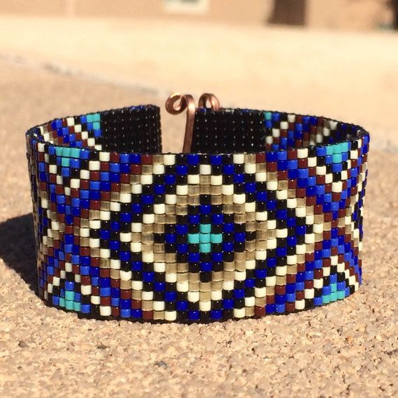 This Sparkling Blues Bead Loom bracelet was inspired by all the beautiful Native and Latin American patterns I see around me in Albuquerque, New