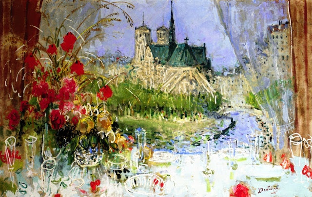 Notre Dame and the Seine from the Window on the Tour d'Argent \\   Pierre-Eugene Montezin (1874-1946)