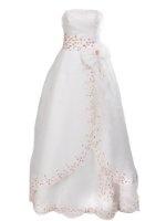 Amazon.com: Artwedding Rosette and Rhinestone Satin Ball Gown Formal Prom Wedding Dress,Ivory: Clothing
