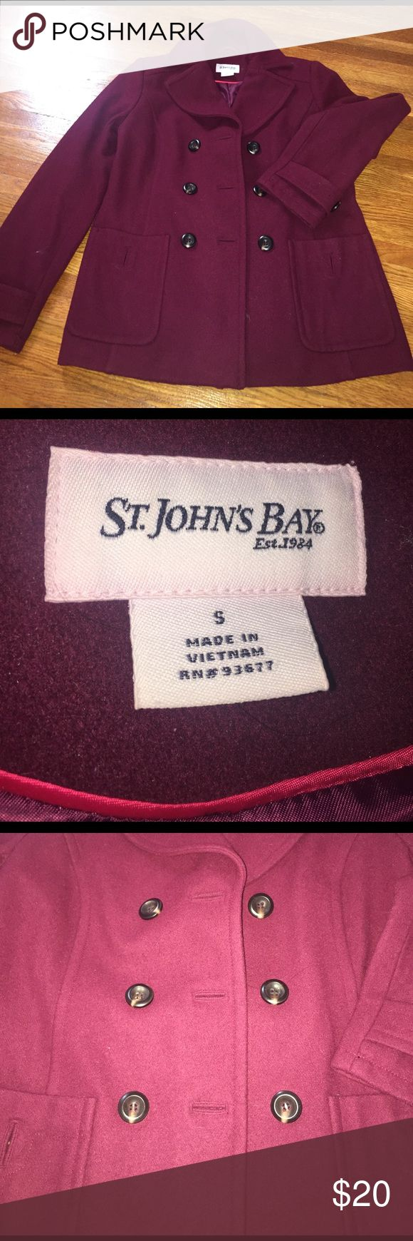 Burgundy Peacoat Peacoat, worn 2 times! Great fit👍🏻 st jons bay Jackets & Coats Pea Coats