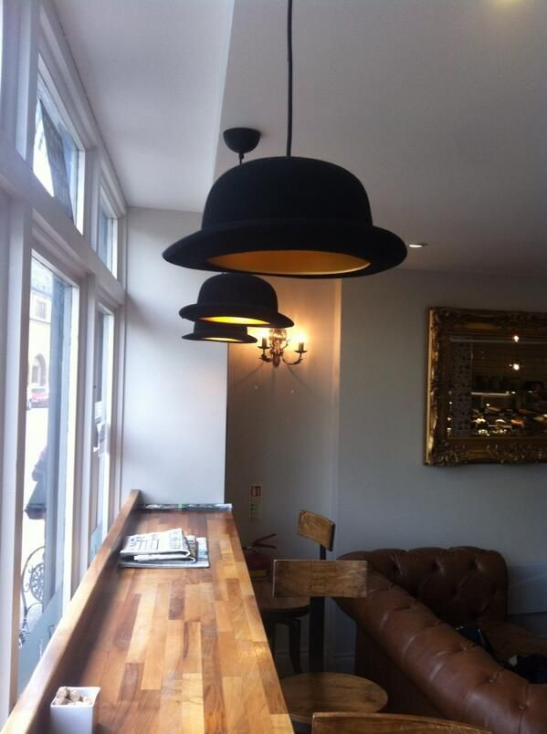 Bowler hat lampshades. Interior Design your home lights with bowler hats.