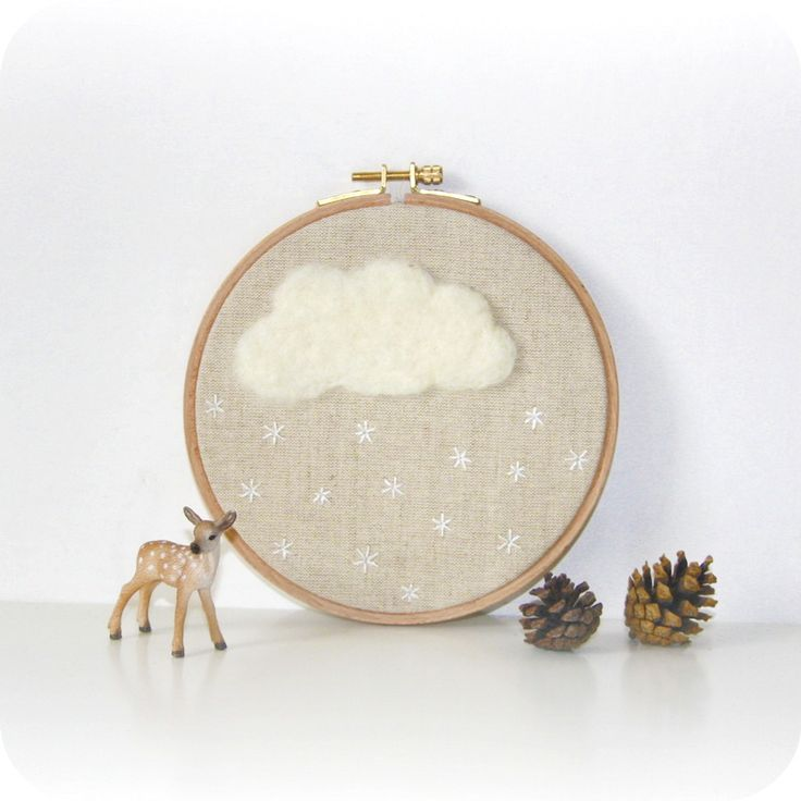 It would be cute to make the cloud out of clustering french knot stitches (I love the french knot)...