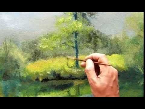 Pintar paisaje natural  al oleo  primera capa, Arboles y pasto ( parte 4)