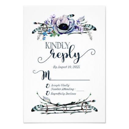 #flower - #Boho Chic Mint & Navy Floral Wedding Reply RSVP Card
