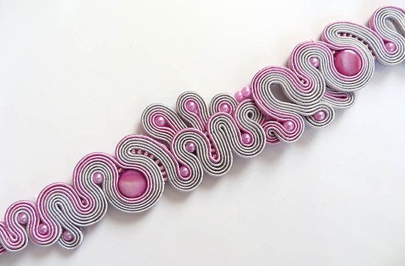 Unique Pink grey Soutache Cuff Bracelet pink Bracelet by sutaszula