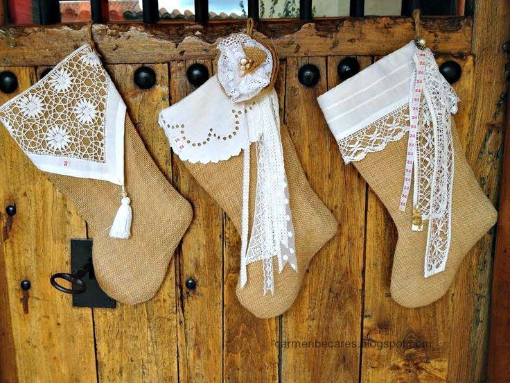 Bota de Navidad (patrón): Burlap Stocking                                                                                                                                                                                 Más