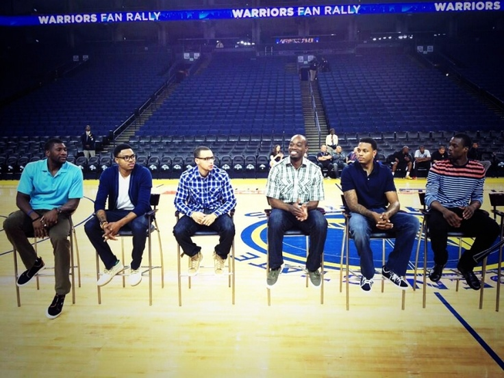 Warriors players Festus Ezeli, Kent Bazemore, Stephen Curry, Carl Landry, Brandon Rush, and Harrison Barnes attended the Fan Rally to thank the fans for their support and answer a few questions.