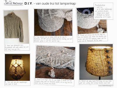 D.I.Y. - lampenkap maken van oude trui - Belle ReDesign