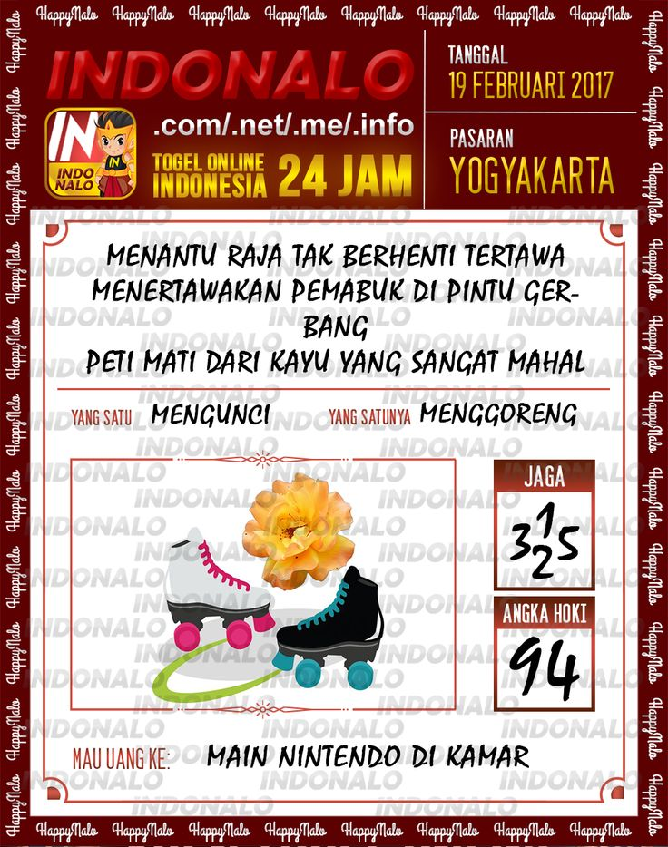 Taysen Hoki 3D Togel Wap Online Live Draw 4D Indonalo Yogyakarta 19 Februari 2017