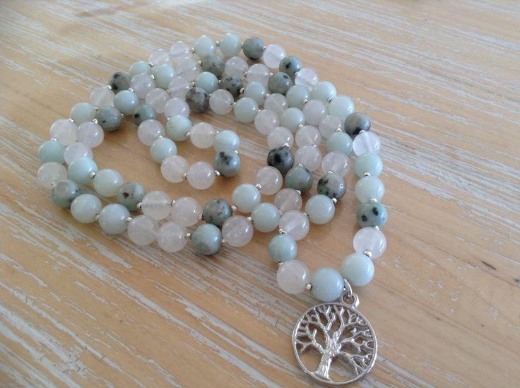 Gemstone necklace, white Quartz, kiwi jasper, Amazonite, 8mm beads, tree of life