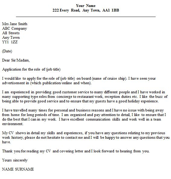 cover letter example for online applications
