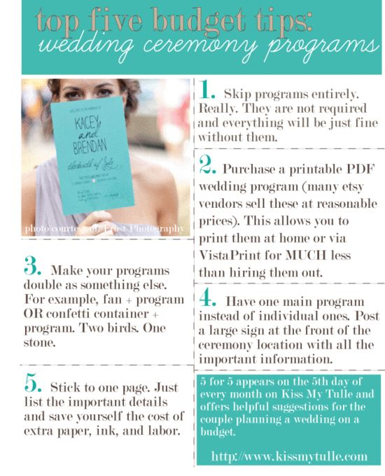 5 for 5: Top Five Budget Tips for the Wedding Ceremony