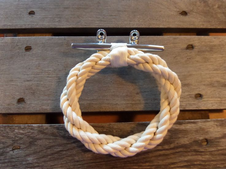 Cotton Rope Towel Ring With Stainless Steel Cleat Bathroom Hand Towel Ring Holder Rack Nautical Decor Beach Style by AlaskaRugCompany on Etsy