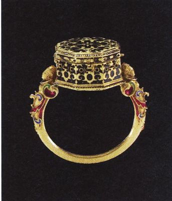 Gold and enamel watch ring, made by Jacob Weiss, circa 1585. - Turn around your jewelry buying experience! Read how at http://jewelrytipsnow.com/these-tips-can-turn-your-jewelry-experience-around/