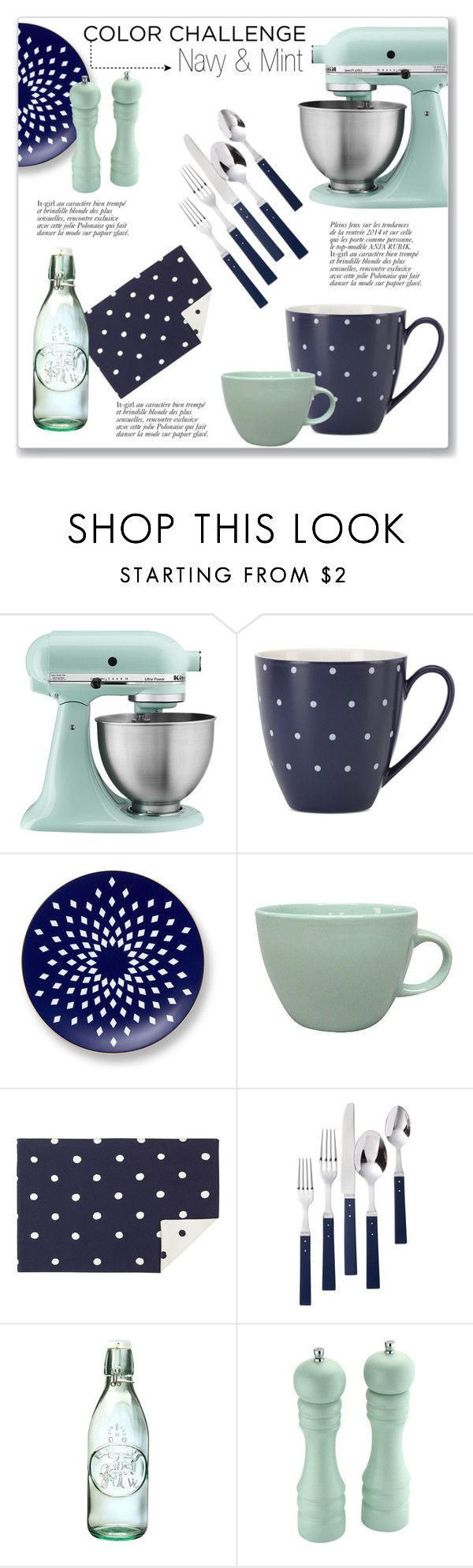 Kitchen decor accessories -  Navy Mint Kitchen Accessories By Kellylynne68 Liked On Polyvore Featuring Interior
