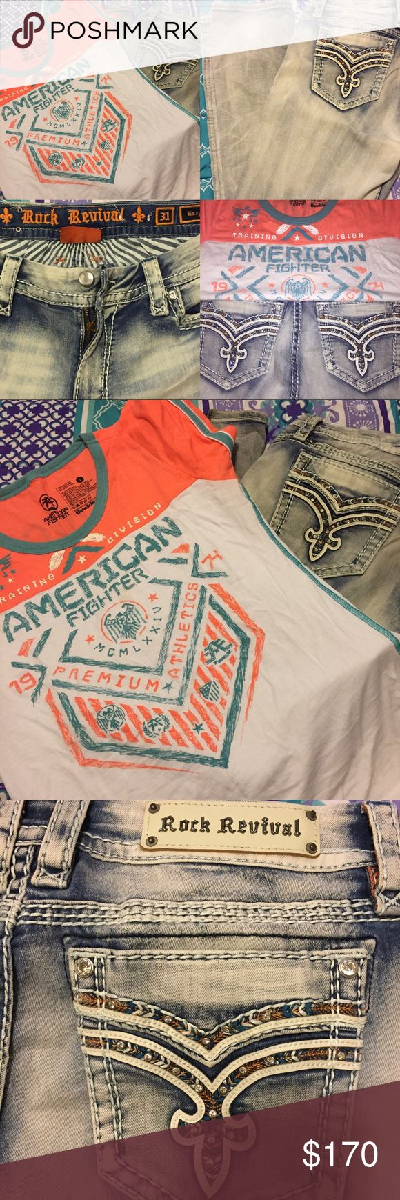 American Fighter & Rock Revival Set American Fighter Shirt (L) and Rock Revival Jeans (31/easy straight) outfit.  Orange and teal designs on both shirt and pants. Both only worn once.  *WILL SELL SEPARATE* $35 for shirt $90 for pants Rock Revival Jeans Straight Leg