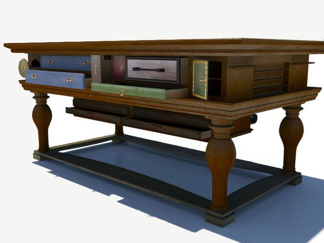 antique table with many functions 3d model max obj 3ds fbx 2