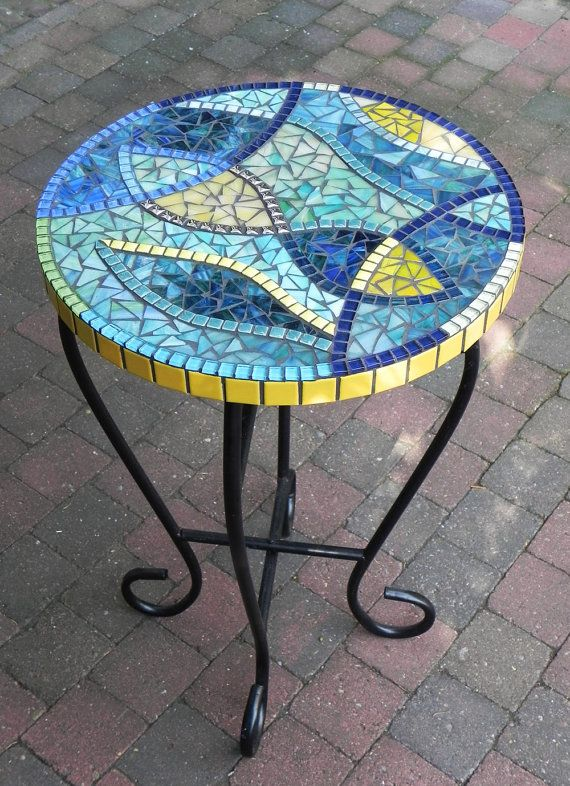 Stained Gl Mosaic Coffee Table Side Plant Stand Small Stylish Blue And Yellow On The Wrought Iron Base Mosaics Tiles Tables N Tops