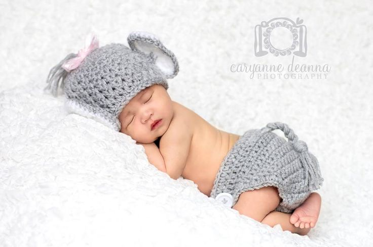 Newborn Elephant Hat and Diaper Cover by MadhatterknitsCo on Etsy https://www.etsy.com/listing/100133793/newborn-elephant-hat-and-diaper-cover
