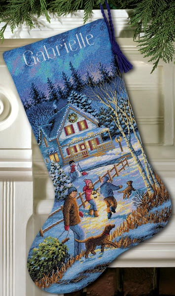 """Gold Collection Christmas Eve Fun Stocking Counted Cross Stitch - 16"""" Long, Dove Grey $27.19"""