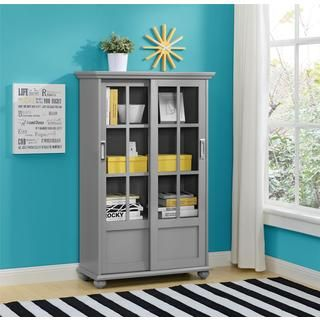 Ameriwood Home Aaron Lane Soft Grey Bookcase with Sliding Glass Doors | Overstock.com Shopping - The Best Deals on Media/Bookshelves