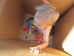Oh yeah baby!  I can already see where this will go. Summer fun in the yard with a rise off in the kiddie pool.: Craft, Cardboard Boxes, Paint, Kids, Activities, Summer Fun, Kid Stuff, Boy, Big Art