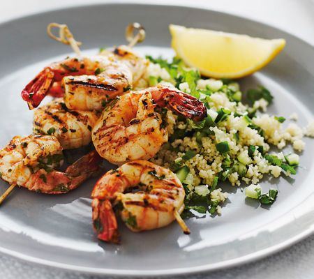 Michelle Bridges' Losing the Last 5 Kilos  Chermoula prawn kebabs with couscous