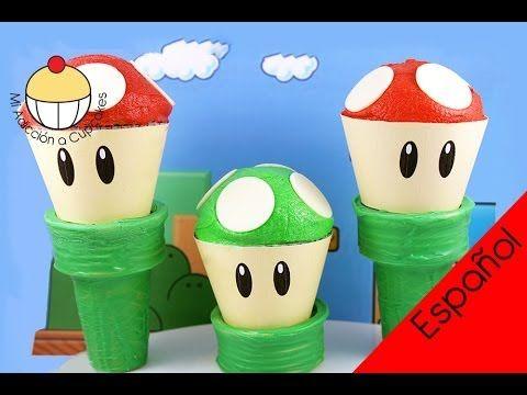 ¡Cupcakes de Súper Mario! ¡Haz un Cupcake del Hongo de Mario! MiAdiccionaCupcakes - YouTube